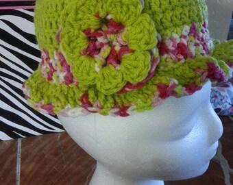 Crochet  Spring Fling Cloche Ruffle w/wo flower