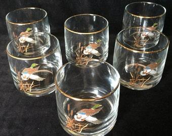 Six Mallard Low-ball Glasses