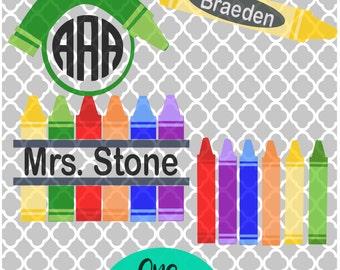 Crayons,crayon svg,crayon monogram,crayon split monogram,school svg,school supplies svg,teacher,teacher svg,students svg,Monogram svg