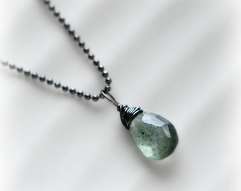Moss Aquamarine Necklace, Oxidised Silver Moss Aquamarine Pendant, Moss Aquamarine Green Gemstone Pendant, Gift for Her, Handmade Blissaria