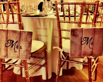 Rustic Wedding Mr and Mrs Signs