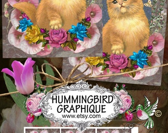 Kitten Digital Download,Gift Tags,Scrapbook,OLDTYME ROSE GARDEN,Collage sheets,Jewelry holders,Journaling,Decoupage,Greeting Cards,900gtNo77