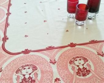 Bjørn Wiinblad - Very Large Printed Cotton Table Cloth - 1970s (V55)