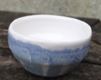 White porcelain with blue sake cup/ accessory cup