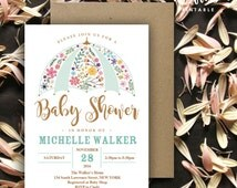 Umbrella Flower Baby Shower Invitation | 5x7 | Editable PDF | Instant Download | Personalize at home with Adobe Reader