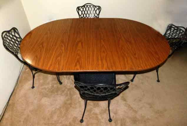 1950s Russell Woodard Wrought Iron Chairs And Walter Of Wabash Walnut Wood Table Top With Two