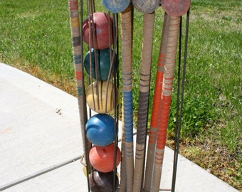 Six Player Croquet Set//Front Porch Decor//Upcycling Decor//Rustic Croquet Set//Vintage Croquet Set