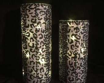 1 set of Decoupage Vases - 1 Set of Black and Gray Animal Decoupage Fabric Vases