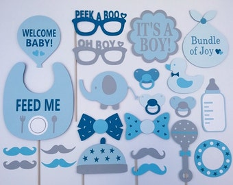 Boy Baby Shower Party Props / Baby Boy Photo Booth Props / Baby Party / Boy Photo Props / Fully Assembled / 23 pc