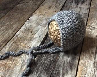 Gray Baby Bonnet, Crochet Bonnet, Newborn Photography Prop