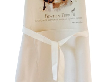Boston terrier new  Dog Natural Cotton Apron Double Pockets UK Made Baker Cook