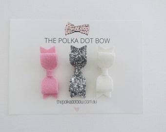 Mini Bow Hair Clip Set - Mini Bows, Hairclips, Baby Hair clips, Mini Hair Clips, Felt Hair Clips - 'lola mini' by thepolkadotbowco