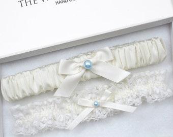 Wedding Garter Set, Wedding Garter, Ivory Garter, Blue Wedding Garter, Ivory Wedding Garter, Blue Garter, Something Blue, Wedding Garter