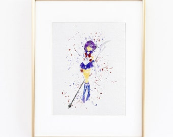 Sailor Saturn manga anime Watercolor silhouette Fine Art Print, instant download high quality poster for wall  kids or nursery decor