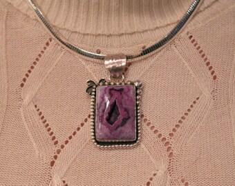Purple druzy stone pendant