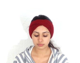 Hand knit headband Handmade knitted headband Hand knit head band Handmade Knitted by hand headband ear warmer Knitted headband accessory