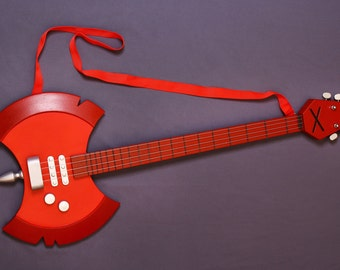 Marceline bass guitar, Adventure Time, cosplay replica prop, Cartoon network, blood, red, rock