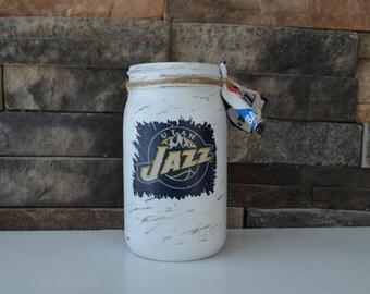 Utah Jazz Decorative Mason Jar