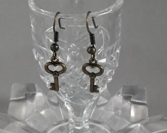 Steampunk teeny tiny key earrings