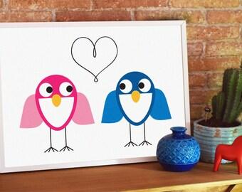 BIRDS IN LOVE, Bird Print, Animal Print, Love Print, Valentine's Day Print,  Digital Print, Instant Download