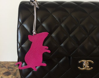 Leather Mouse Rat Bag Charm with Cord