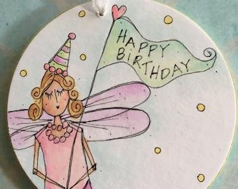 Birthday ornament-fairy-happy birthday-celebrate-birthday ornament-sweet 16-mother-grandmother-aunt-best friend-friend-niece-pink-heart-fun
