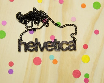 Helvetica Black Glitter Acrylic Necklace