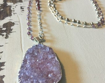 Lavender Druzy Pendant Necklace