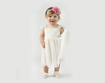"Baby Flower Girl Dress in White for Baby or Toddler with Chiffon Skirt and Cap Sleeves - The ""Rebekah"""