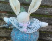 Pincushion/Rabbit Pincushion//Paisley Fabric, Lace, Ribbon, Flower//Pincushion//Rabbit//vintage Pincushion/Gift for mother/Gift for a sewer/