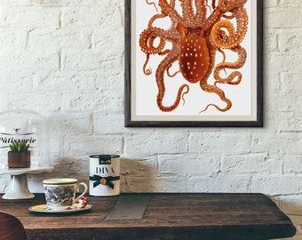 Octopus instant download nautical clipart vintage illustration