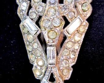 Vintage Art Nouveau Clear Rhinestone Dress Clip Silver Tone PAT 1852188 Diamante