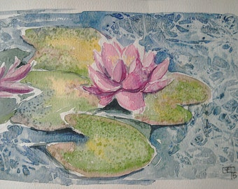 Waterlily flower art watercolour painting