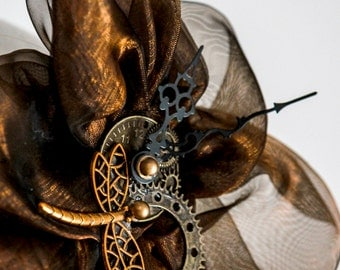 Steampunk headpiece fascinator headdress gears organza clockwork