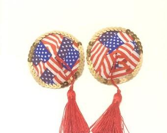 American Flag Tassle Pasties