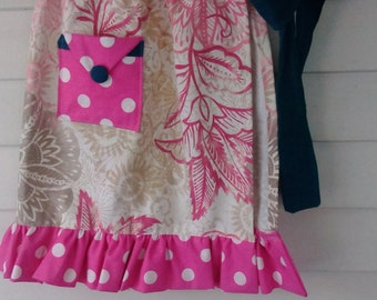 Pink Floral and Dots Retro Apron