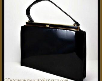 Vintage Patent Leather Handbag, Vintage Leather Handbag, Vintage LaSalle's Handbag, Vintage Patent Leather Purse, Vintage Leather Purse