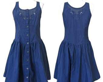 Vintage Blue Cotton Sleeveless Button-up Dress with Broderie Anglaise — Small