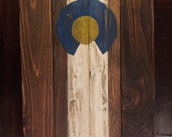 Handmade Wooden Colorado Flag