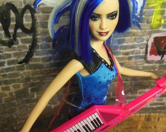 OOAK Barbie Rock N Royals Doll Repaint Blue Hair Silver Streak