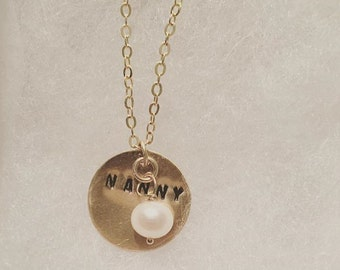 Custom Gold Disc Pendant w/ Pearl