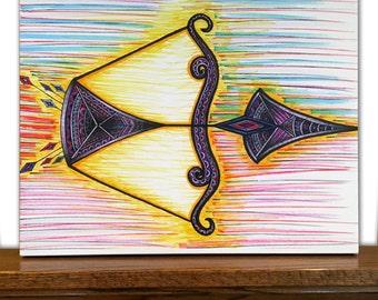 Arrow Canvas Art - Arrow Wall Art - Home Decor - Sagittarius - Zodiac Sign - Tribal Art - Drawing - Markers