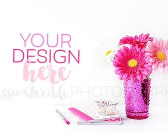 Pink Vase + Pink Flowers + Stationery Styled Desktop, Styled Stock Photography, Styled Mockup, Product Background Photo