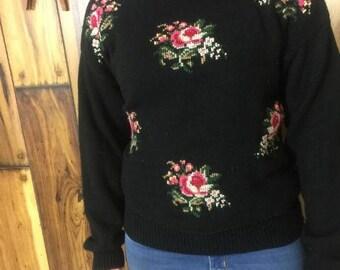 Vintage Rose Sweater // Flower Turtleneck // Cowl Neck // Retro Pullover // Cross Stitch