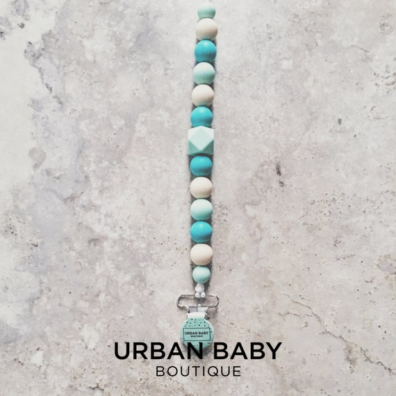 Mia Seaside Turquoise Hexagon Chewable Silicone Pacifier Clip - Soother, Teether Clips, Beads, Baby Gift, Baby Shower, BPA Free Jewellery