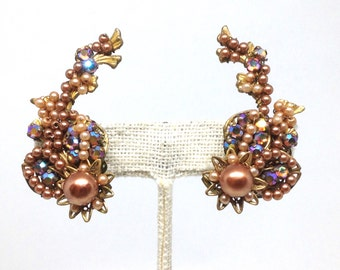 Gorgeous Vintage Estate  ALICE CAVINESS Rhinestone Faux Pearl Clip Earrings