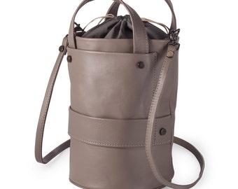 Leather Bucket Bag Drawstring Minimalist Crossbody Gray Leather ,gray leather handbag,  top handle bag, shoulder bag, leather purse