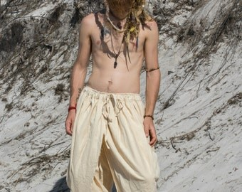 DHOTI PANTS Natural Men Khadi Pants Earthy Clothing Organic Natural Hand Woven Tribal Clothing Harem Dhoti Indian Pants
