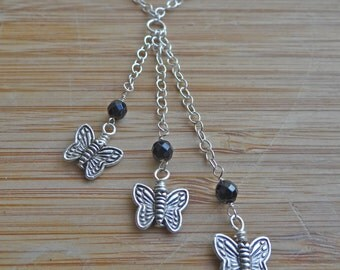 Spring Flutters- Triple Cascading Onyx and Sterling Silver Butterfly Necklace