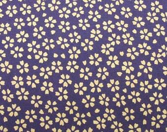 "SALE!! 1/2 yard Japanese Traditional Style ""Little purple sakuras"" 100% Cotton Fabric (50cm×110cm)"